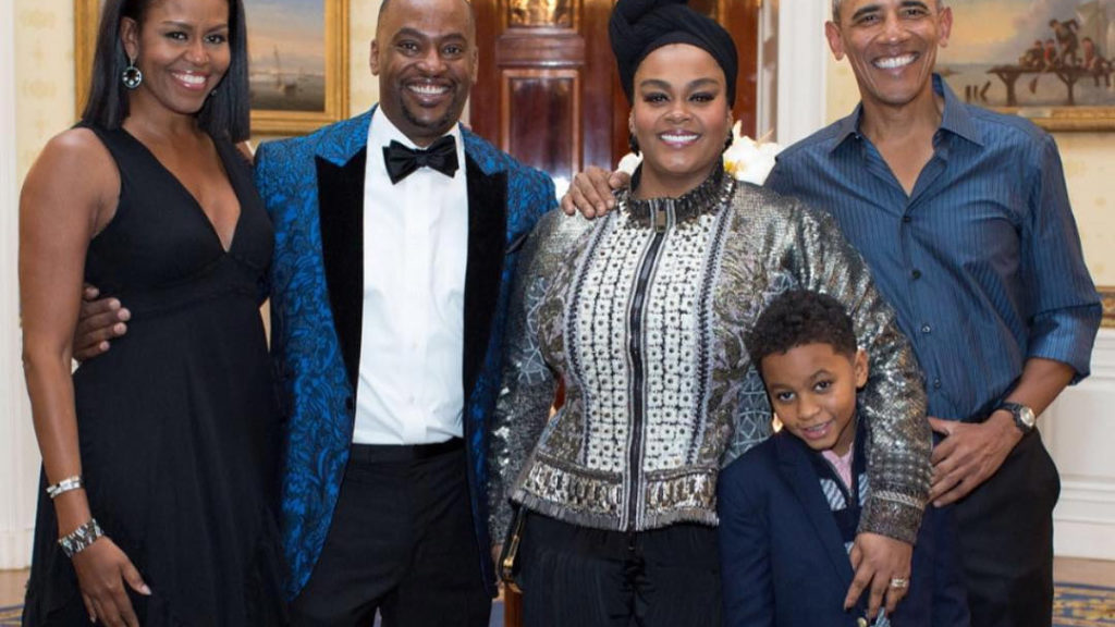 Scott and her son with the Obamas at the White House, where she performed last October.