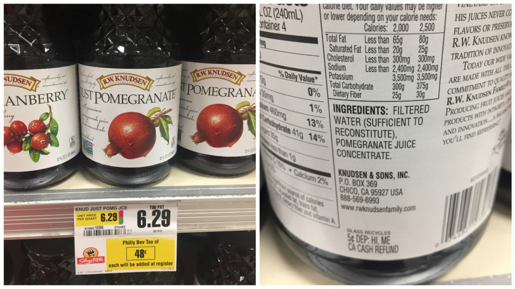 """Just Pomegranate"" juice is taxed under the sugary sweetened beverage tax at a ShopRite in Port Richmond, despite its ingredients including just filtered water and juice concentrate."
