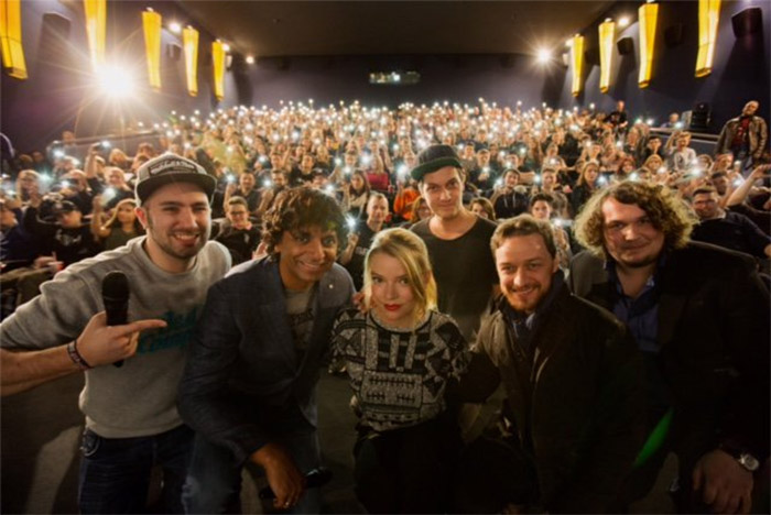Shyamalan and the cast of 'Spilt' make a surprise appearance at a screening in Hamburg, Germany