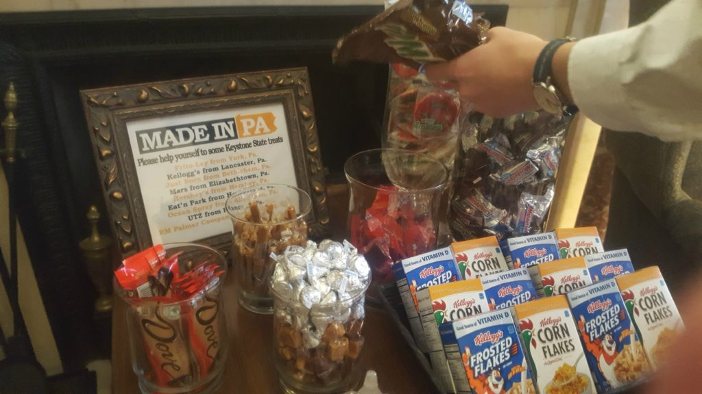 Candy open for the taking in Toomey's reception area.