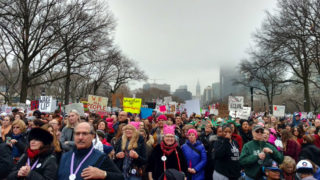 Participants in the Philly Women's March gather at Eakins Oval for a rally