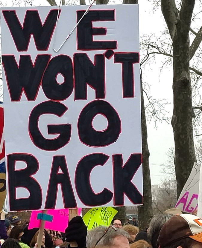 A sign carried at the Philadelphia Women's March in January.