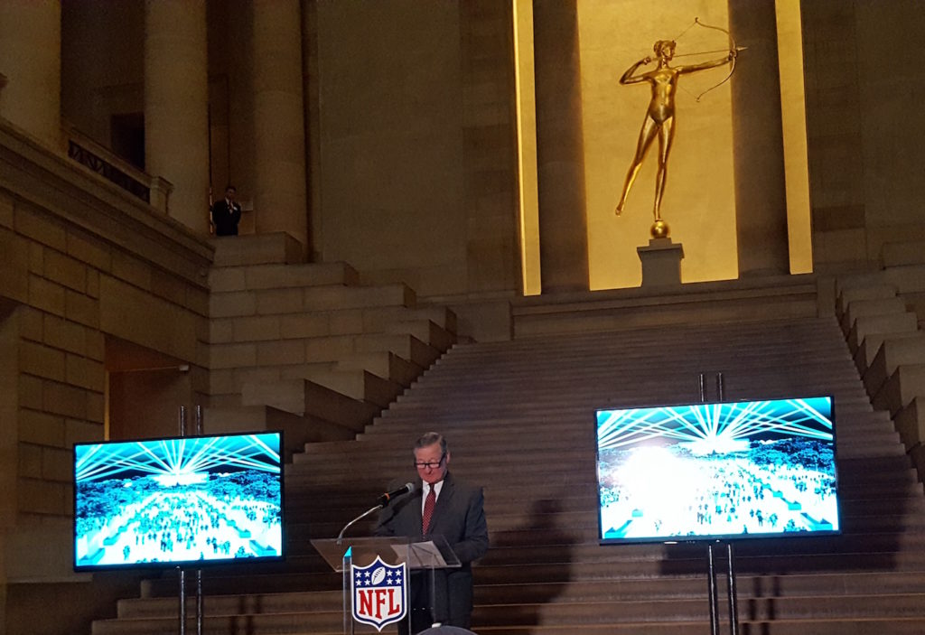 Mayor Kenney at an NFL Draft event in February.