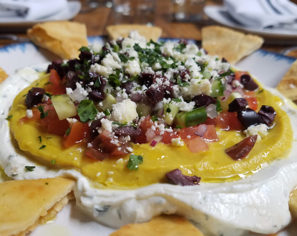 Saritsoglou's take on the king of Super Bowl snacks features olives and feta