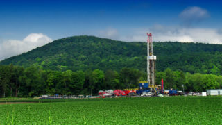Marcellus shale gas-drilling site along PA Route 87, Lycoming County.