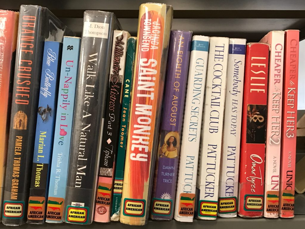 A shelf in the African American fiction section at Parkway Central Library.
