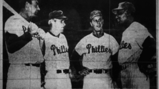 Kennedy talking with three of his teammates in 1957 spring training in this photo from a Philadelphia Evening Bulletin newspaper article.