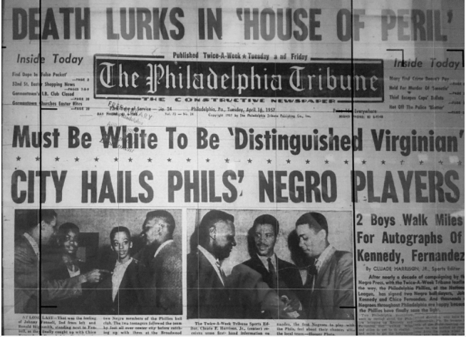 The front page of the Philadelphia Tribune on Opening Day 1957.