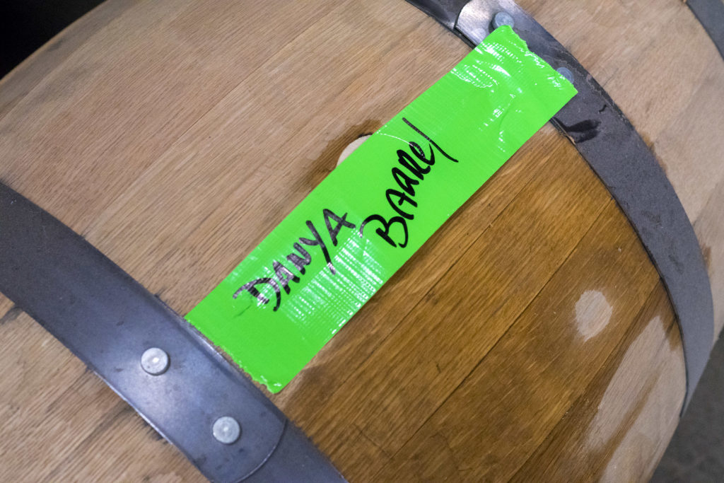 One of two barrels that will be blended for our custom, limited-edition bottling run