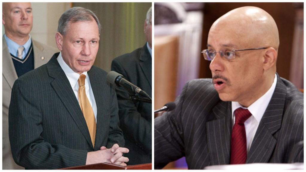 Left: Sen. John Eichelberger. Right: Sen. Vincent Hughes.
