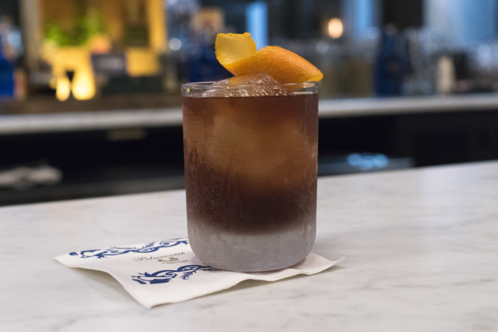 The Library Co. cocktail, with Bluecoat Barrel-Finished Gin, bitter aperitif, house vermouth and balsamic vinegar