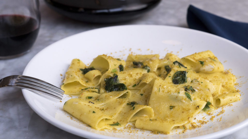 Ferreri's Fazzoletti with cured egg and bottarga might not look like much, but it hits