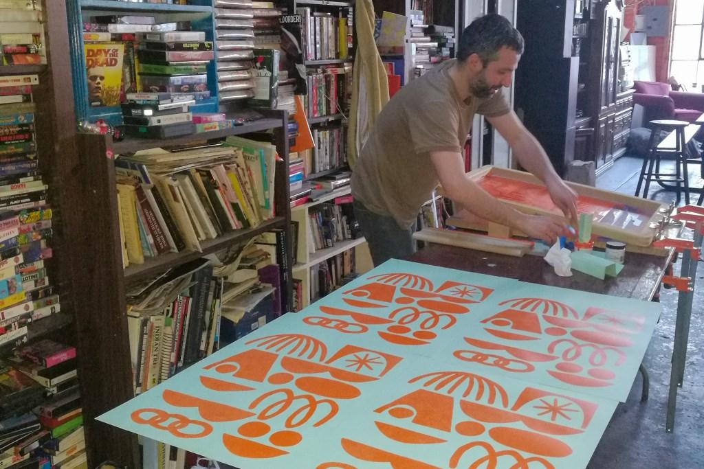 Helmis screenprints the Two Piece Fest posters