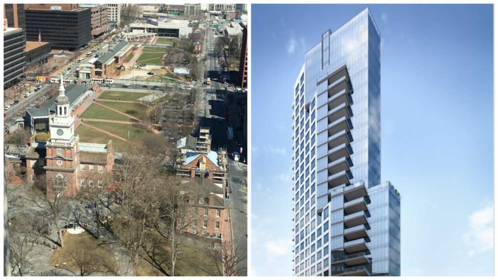 The view of Independence Hall from a still-in-progress $9 million condo on the 23rd floor of 500 Walnut and a rendering of the building.