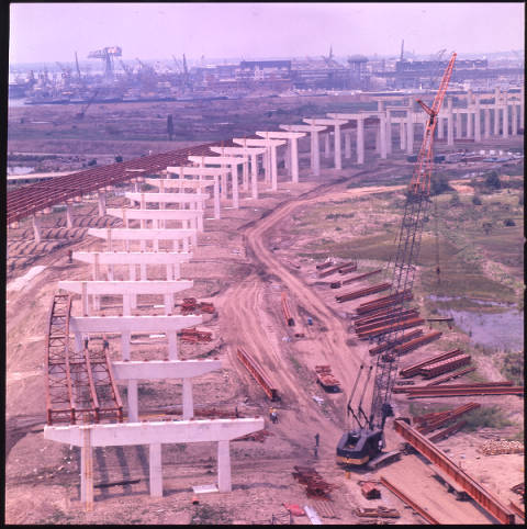 An aerial shot of I-95's construction from 1970.