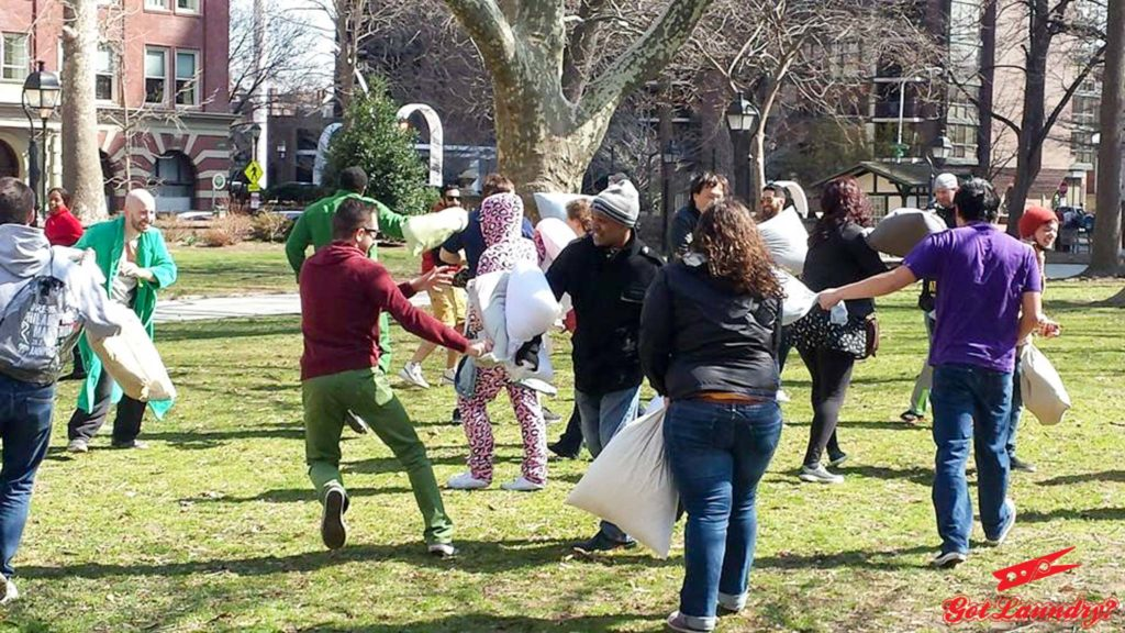 The battle scene from one of Philadelphia's annual pillow fights.