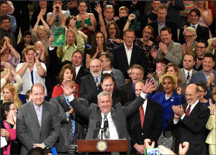 Folmer celebrates the passage of SB3, the medical marijuana bill. He was the prime sponsor.