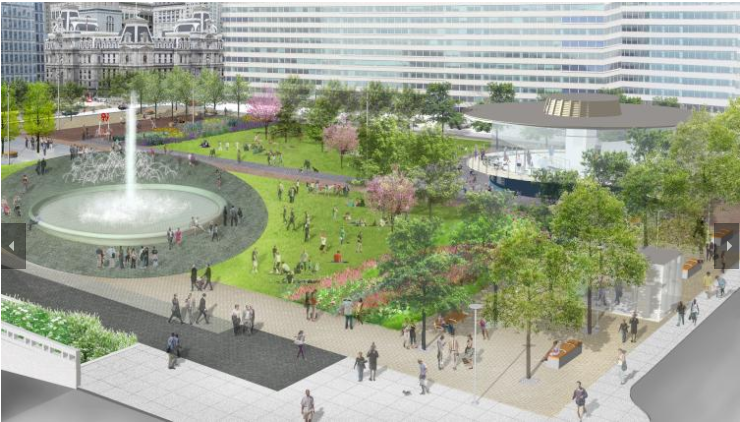 Rendering of the new LOVE Park.
