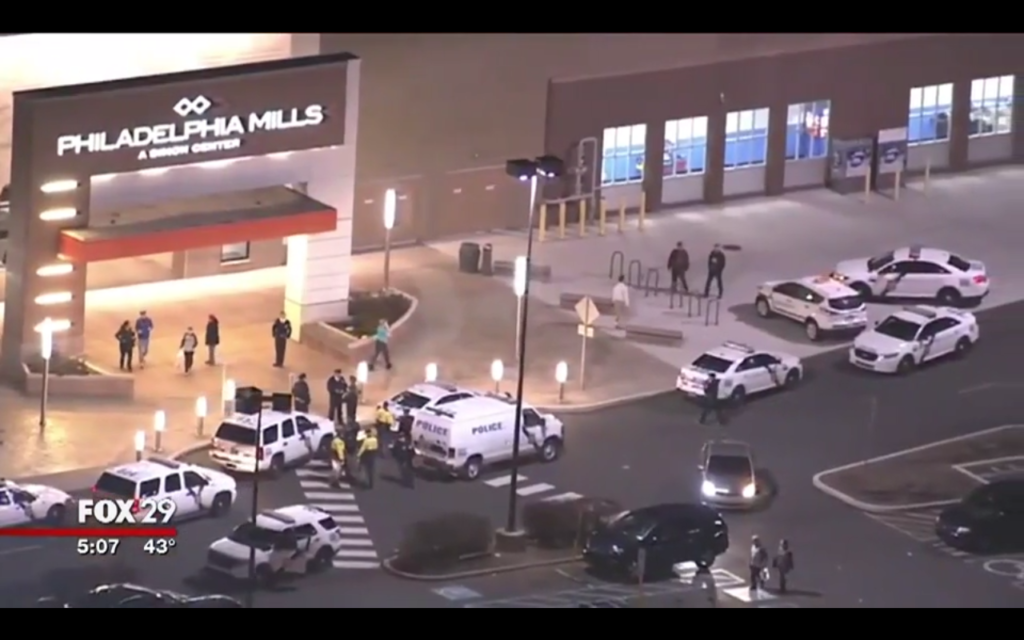 Police after a flash mob at Philadelphia Mills.