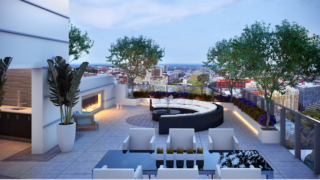 The rooftop terrace fireplace of the penthouse.