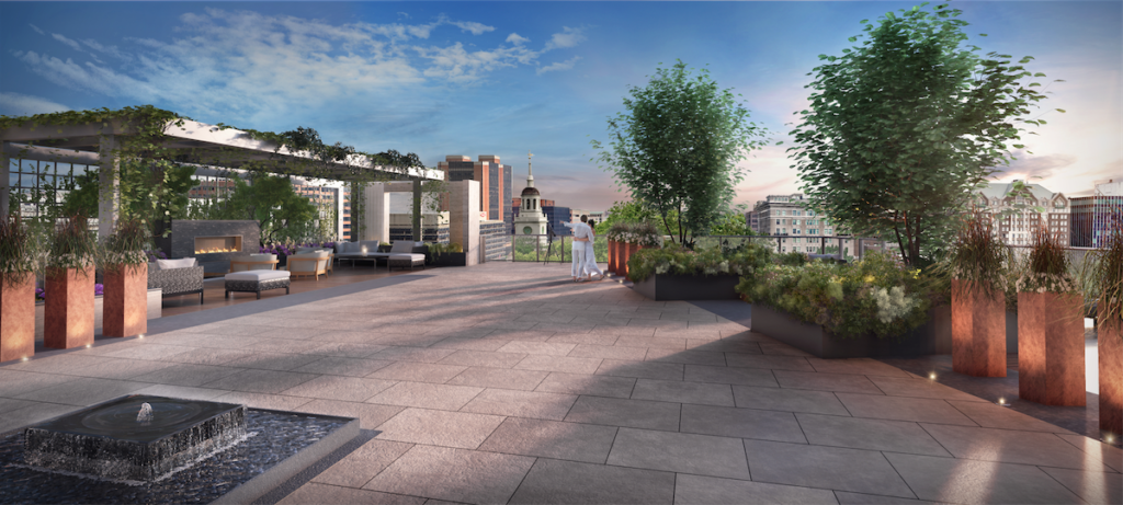 The rooftop terrace available for all residents of 500 Walnut.