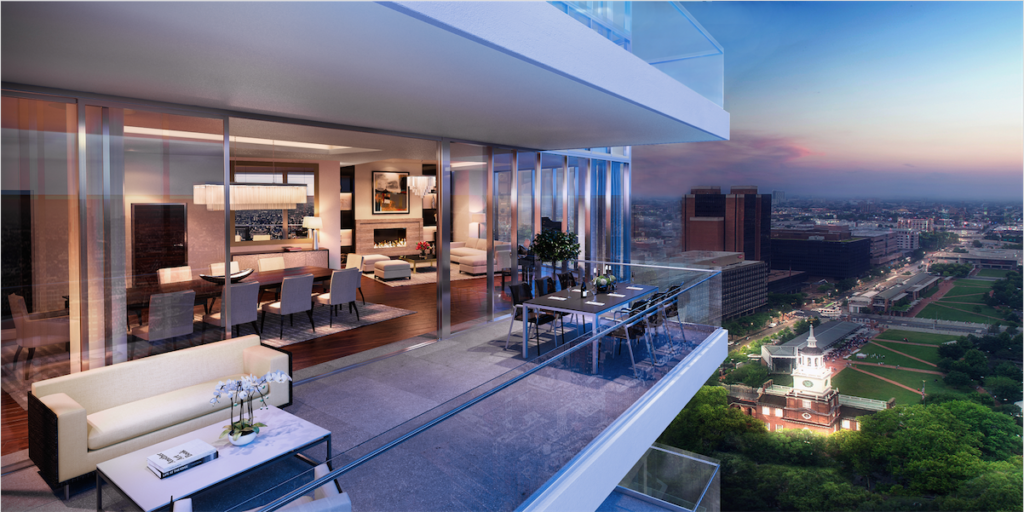 Balcony and view for a typical condo.