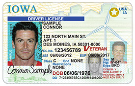 A REAL ID compliant driver's license in Iowa has the star in the upper corner.