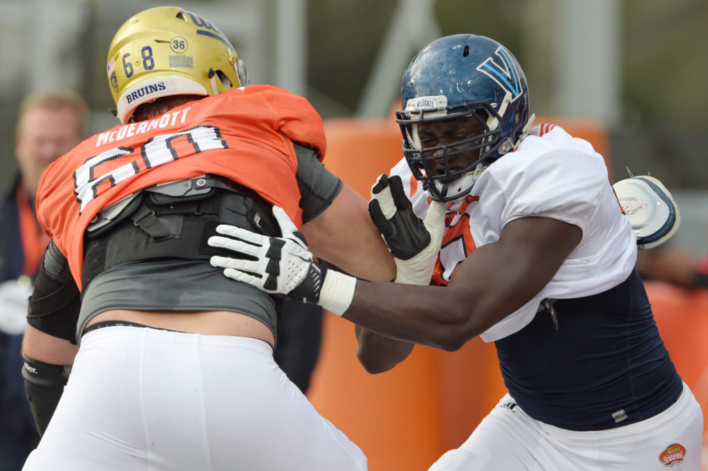 Defensive end Tanoh Kpassagnon of Villanova at Senior Bowl practice
