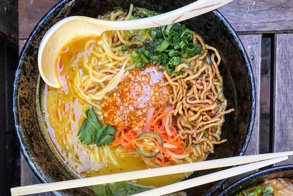 Coconut curry noodles at Cheu Noodle Bar