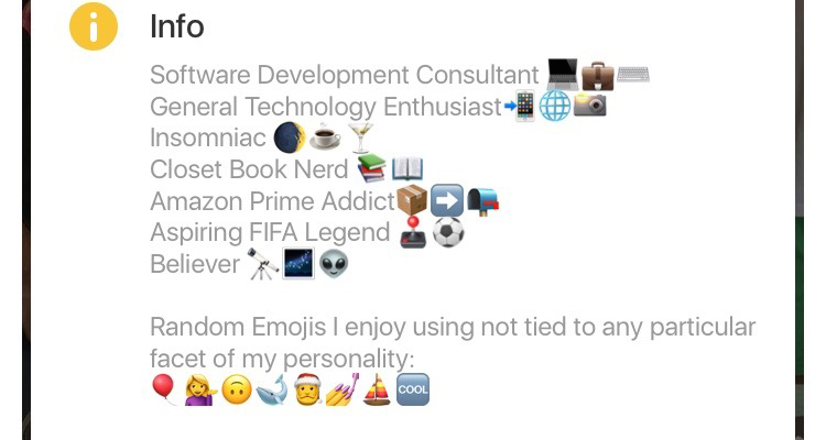 guy with emoji bio