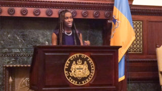Amber Hikes is officially introduced as Philadelphia's new director of the Office of LGBT Affairs.