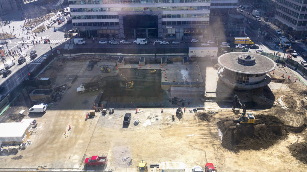 The view of the LOVE Park renovation from Parks Commissioner Kathryn Ott Lovell's office at 1515 Arch.