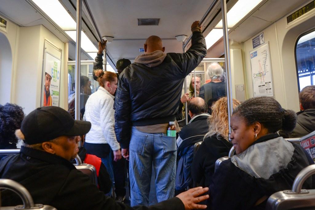 Aboard the Market-Frankford line in Philadelphia.