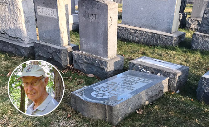 Harry Boonin, inset, will give a talk Sunday about the history of Jewish cemeteries in Philadelphia.