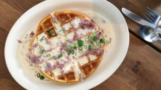 Savory scallion waffle at The Dutch