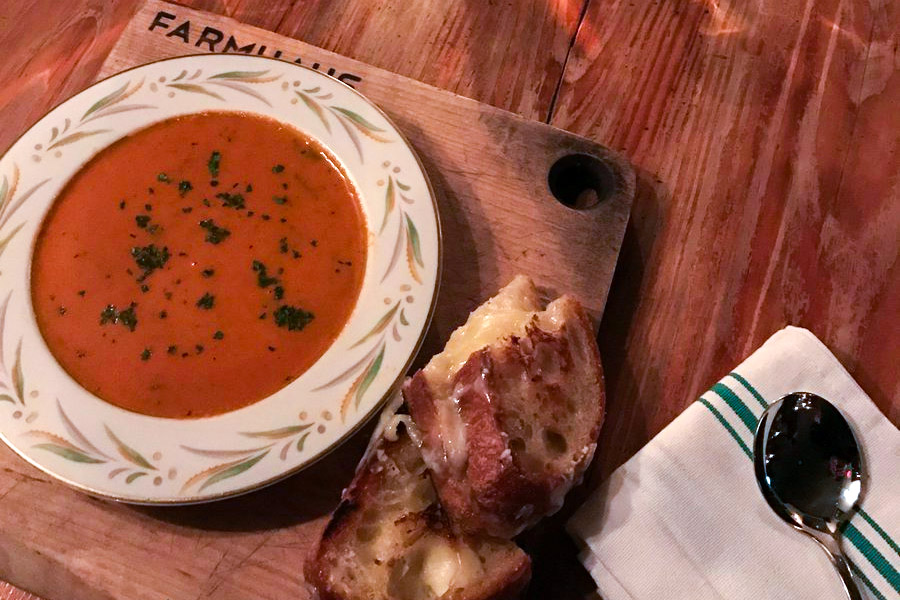 Tomato soup and grilled cheese at Prohibition Taproom
