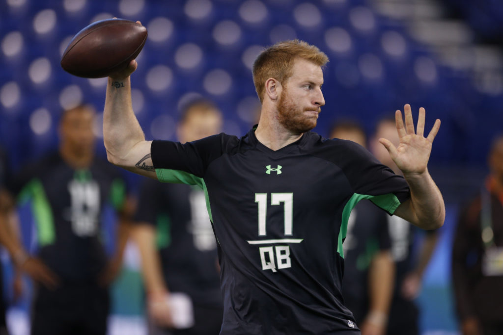 Eagles QB Carson Wentz threw at the 2016 NFL Scouting Combine.