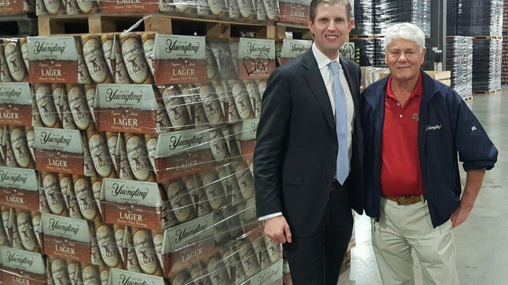 Dick Yuengling (right) stands with Eric Trump after a tour of the Pottsville brewery in October 2016