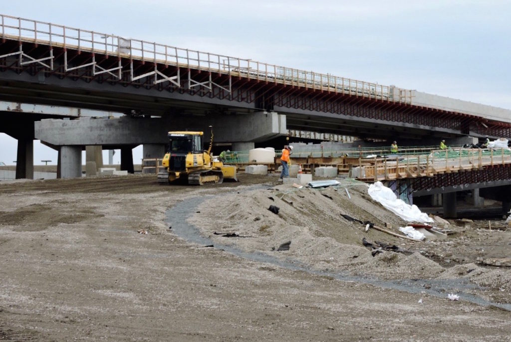 March 2017: The sub-base is graded for the pavement that will take motorists to the new northbound I-95 on-ramp at the new northbound Girard Avenue Interchange.