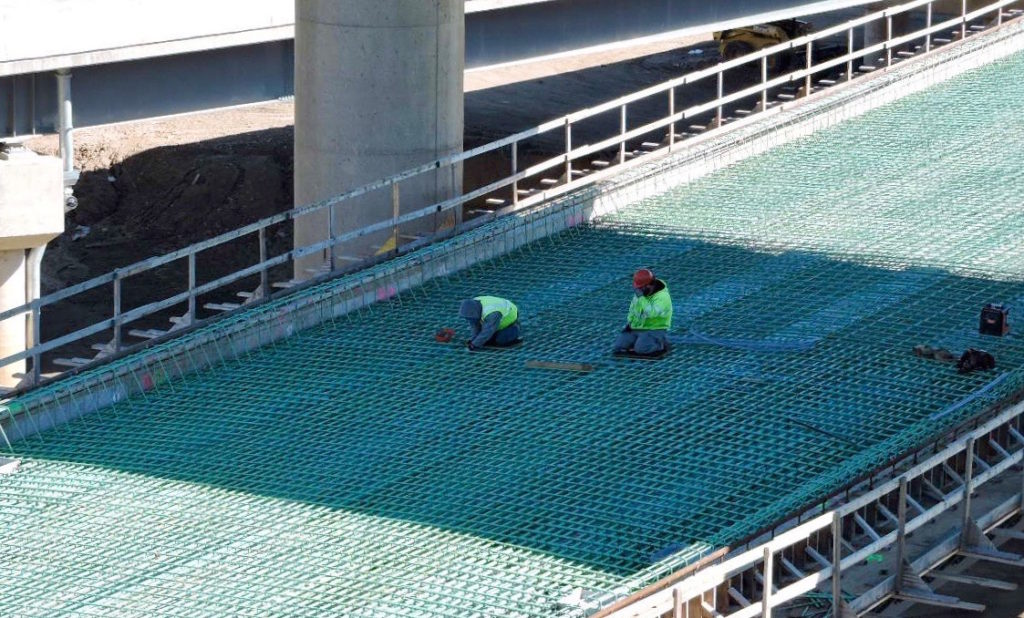 March 2017: Ironworkers tie re-bars on the deck of the new ramp from Aramingo Avenue to the Betsy Ross Bridge.
