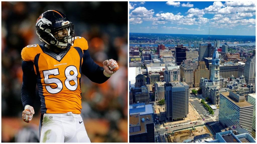 Left: Denver Broncos outside linebacker Von Miller. Right: View from SkyGarten.