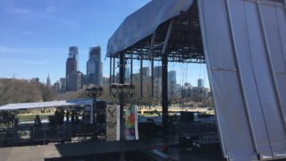 An NFL Draft stage set-up in front of the Art Museum.