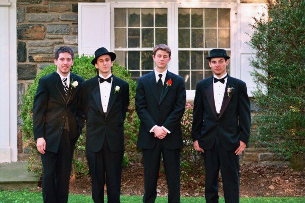 Spirited Media Developer Chris Montgomery, second from the left, stands with buddies before the big night in 2007.