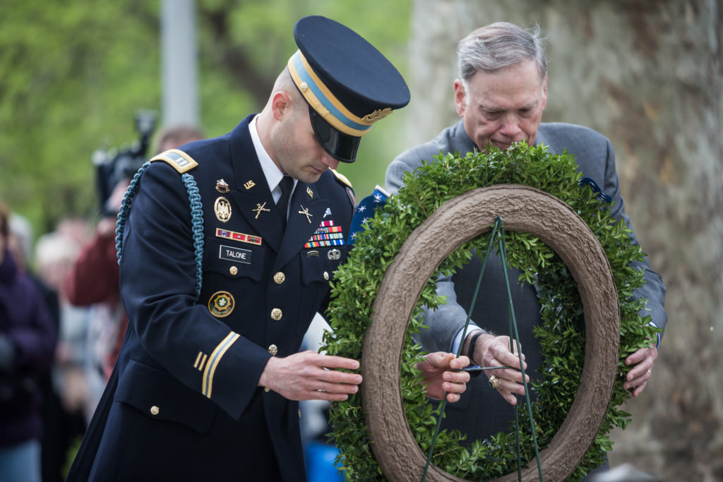 Captain Andrew J. Talone and General John P. Jumper lay a wreath in front of the Tomb of the Unknown Revolutionary War Soldier during the opening ceremony for the Museum of the American Revolution.