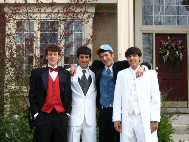 Reporter/Curator Mark Dent, wearing all white, with friends before prom in 2005.