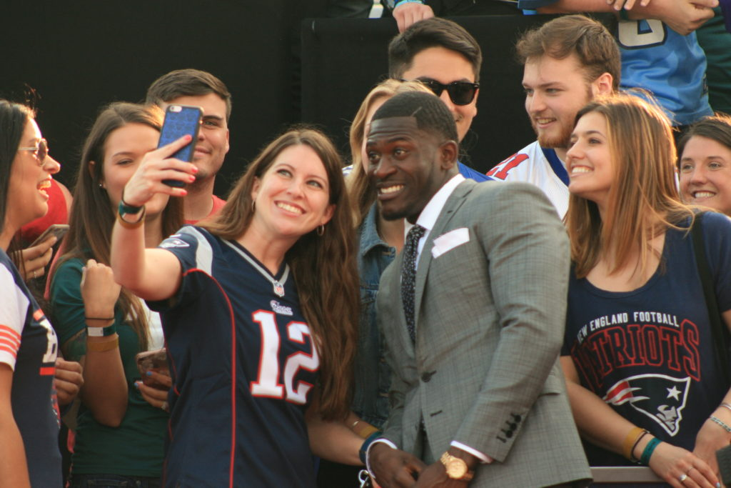 Tre'Davious White stopped to take selfies with fans.