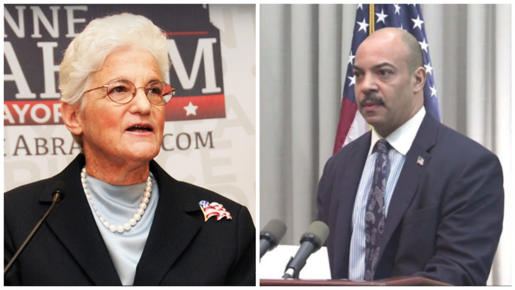 Former Philadelphia District Attorney Lynne Abraham and current Philadelphia District Attorney Seth Williams
