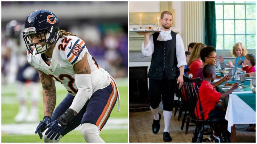Left: Chicago Bears defensive back Brandon Boykin. Right: City Tavern.