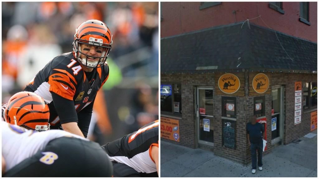 Left: Cincinnati Bengals quarterback Andy Dalton. Right: Woolly Mammoth Bar.