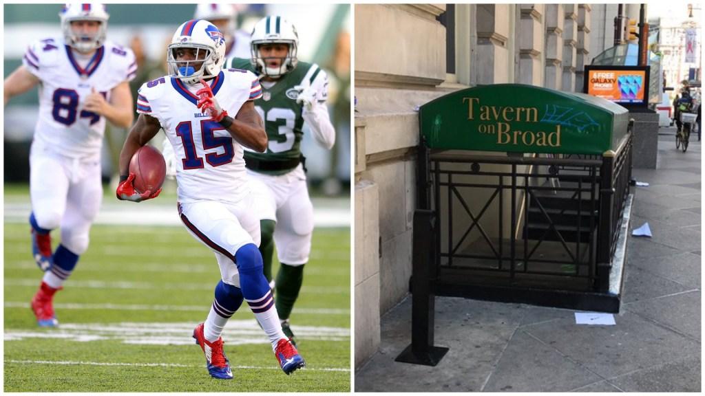 Left: Buffalo Bills wide receiver Brandon Tate. Right: Tavern on Broad.
